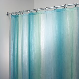 Indigo blue white and teal shower curtains fabric for Blue and white striped bathroom accessories
