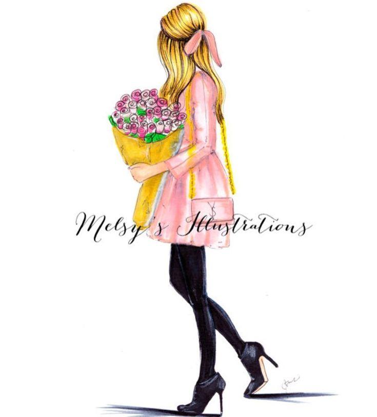 """좋아요 1,711개, 댓글 11개 - Instagram의 Melsy's Illustrations ©(@melsysillustrations)님: """"On Wednesday I illustrate PINK! Love yourself and buy yourself a dozen of roses every now and then…"""""""