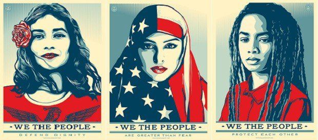 Graphic artist Shepard Fairey relaunched his poster campaign for the inauguration of US President-elect Donald Trump titled 'We the People.' It aims to 'disrupt the rising tide of hate and fear in America.' SHEPHARD FAIREY / THEAMPLIFIERFOUNDATION.ORG