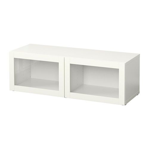"""IKEA - BESTÅ, Shelf unit with glass doors, Sindvik white, 47 1/4x15 3/4x15 """", , A simple unit can be enough storage for a limited space or the foundation for a larger storage solution if your needs change."""