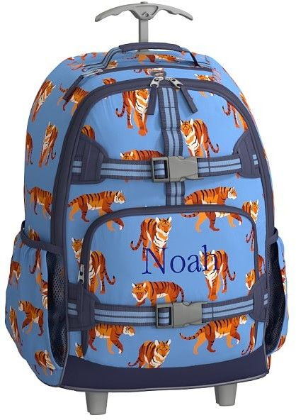 Pottery Barn Kids Rolling Backpack, Mackenzie Blue Tigers