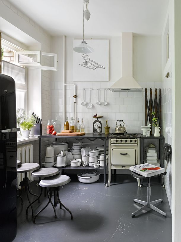 Industrial style kitchen in Russian apartment