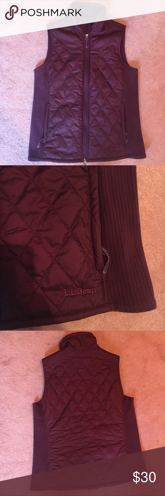 L.L. Bean Dark Purple Vest Willing to negotiate, just submit an offer! :) Perfect for the fall or winter! This gorgeous dark purple vest has been worn only once or twice with no signs of wear. Quilted outside and fleece inside. 2 zippered pockets. L.L. Bean Jackets & Coats Vests