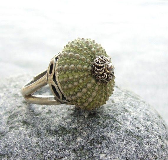 Sterling Silver Sea Urchin anneau vert Sultan, bijoux de plage, disponibles entre 6 et 10 tailles