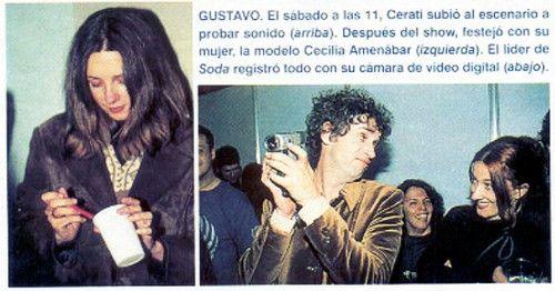 CeCi y GuS, UC Buenos Aires. Revista Gente. - [b]Video: Entrevista a Gustavo Cerati y Zeta Bosio tras el Ultimo Concierto de Chile, en el año 1997. EnRemolinos.com[/b] http://www.youtube.com/watch?v=i_jlyNG9IHM [b]Luz para que encuentres el camino de regreso.[/b] - Fotolog