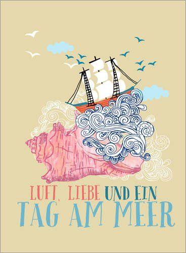 Poster 50 x 70 cm: Tag am Meer von Elisandra – hochwertiger Kunstdruck, neues Kunstposter