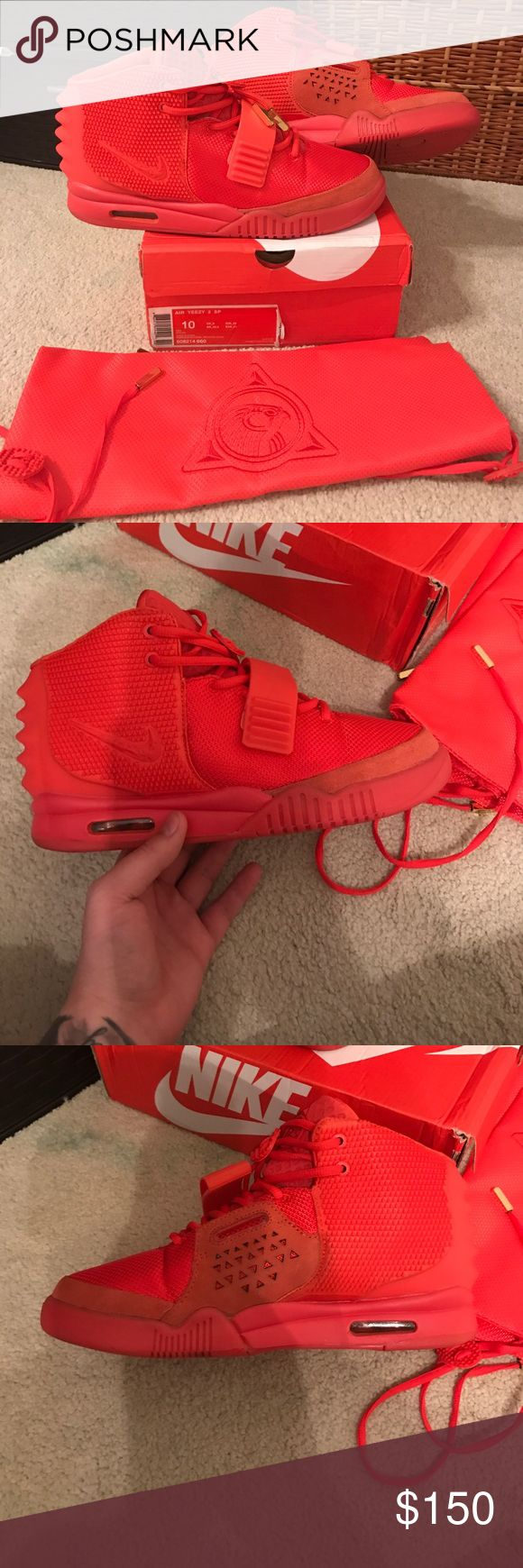 Yeezy 2 red October Replica Nike yeezy 2 Red October Replica. They're very close to retail, I've worn them once to dinner and they've been sitting in my closet ever since. I'm willing to send more pictures, they come with box and dust bag. They glow very well! $150 obo trades accepted. Nike Shoes Sneakers