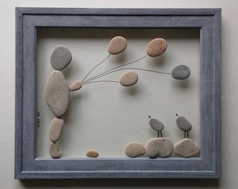 Pebble art Stone art Pebble picture Unique gift Beach por AyalaMor