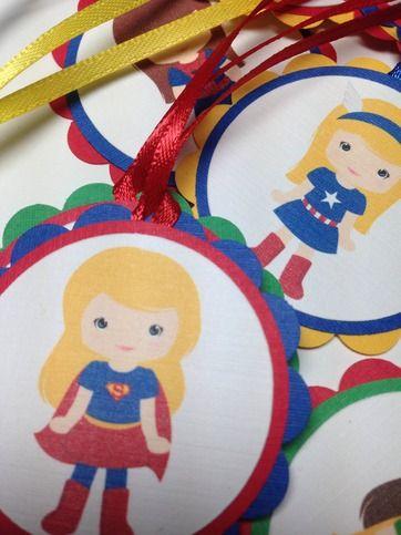 Superhero favor tags for girls