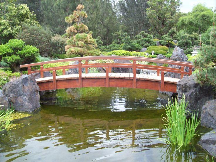 Een koivijver in Japanse stijl met loopbrug. Bekijk het inspiratieplatform TuinTuin.nl voor talloze foto's van koivijvers.