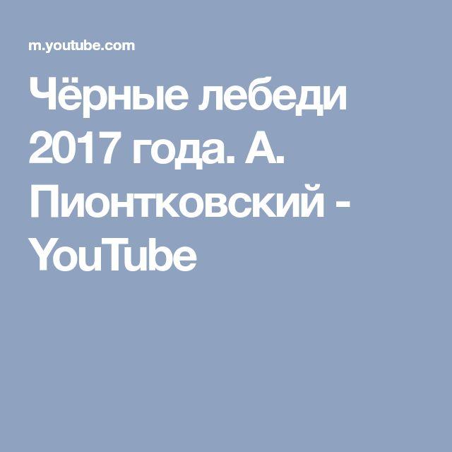 Чёрные лебеди 2017 года. А. Пионтковский - YouTube