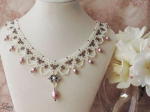 Victorian Pearl White, Bronze and Dusty Rose Lace Beaded Bridal Necklace