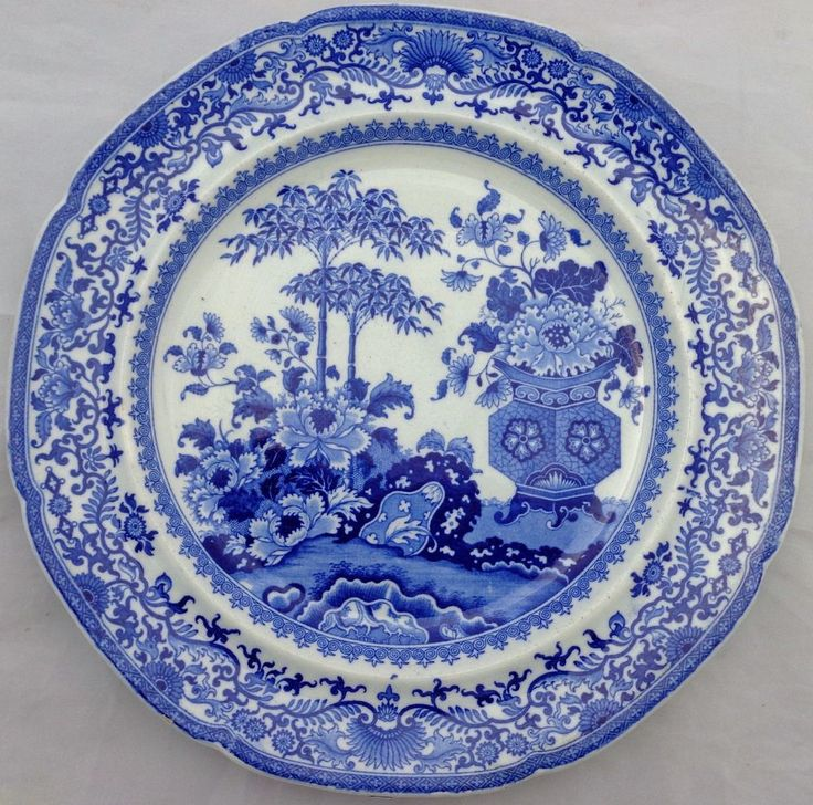 Antique Minton Blue u0026 White Bamboo and Flowers Pattern Semi-China Plate c 1820  sc 1 st  Pinterest & 194 best Antique Plates and Platters images on Pinterest