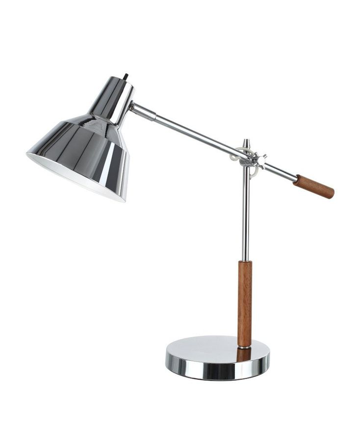"""# 40042 24 1/2"""" High Modern Metal Desk Lamp, in a Chrome Finish with Wood Accents and a Metal Lamp Shade, 23"""" Wide"""
