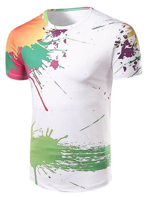 Casual Short Sleeve Painting T-Shirt For Men - WHITE L
