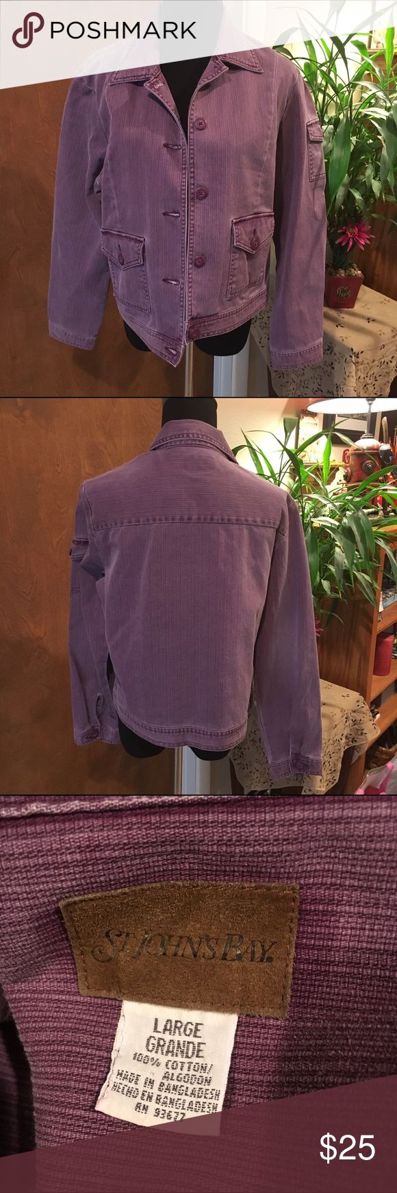 "St Johns Bay, lavender jean jacket. Size L This jean jacket is a pretty lavender. Measurements from shoulder to arm 23.5"", bust laid flat is 22"", and shoulder to hem is 21. St Johns Bay Jackets & Coats Jean Jackets"