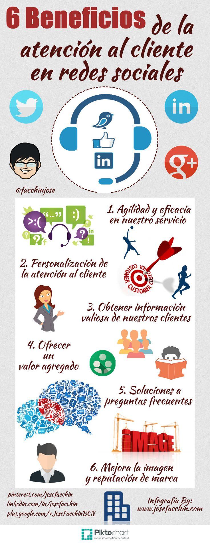 6 beneficios de la atención al cliente en Redes Sociales Por: www.josefacchin.com #infografia #infographic #socialmedia
