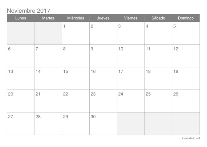 Calendario de noviembre 2017