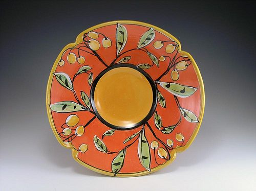 Bowl: Red Notched Orange Center by cone03red, via Flickr
