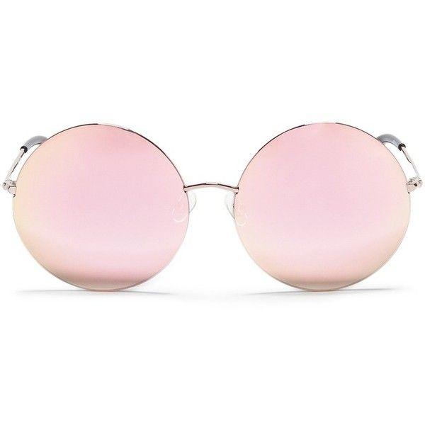 Matthew Williamson Metal round mirror sunglasses ($251) ❤ liked on Polyvore featuring accessories, eyewear, sunglasses, glasses, occhiali, pink, retro mirror sunglasses, round mirror sunglasses, pink mirror sunglasses and mirrored sunglasses