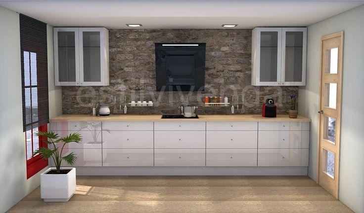 Dise o de cocina con combinaci n de materiales naturales como son la piedra para el - Revestimiento paredes imitacion piedra ...