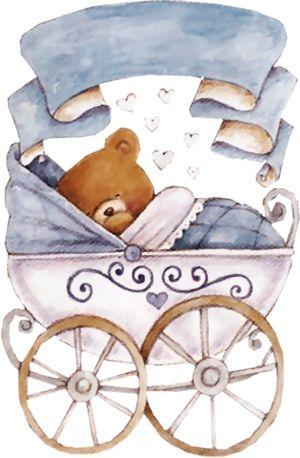 Carritos para bebes baby shower-Imagenes y dibujos para imprimir