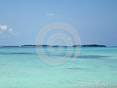 View of Maldives Sea, from Maafushi beach, in a sunny morning.