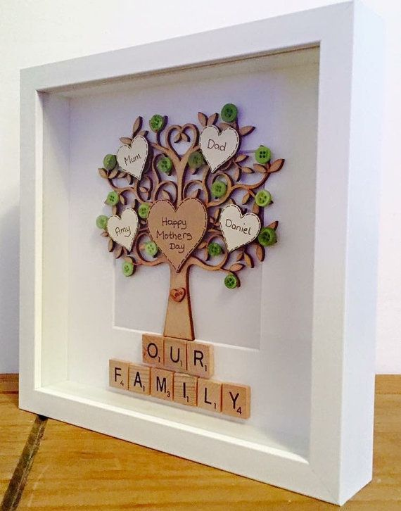 FAMILY TREE scrabble frame Est. 4 names by MagicWonderCreations