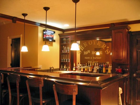 Wet Bar Design Ideas | Entertainment and Wet Bar, Wet bar area, seats 8. Wooden bar top with ...