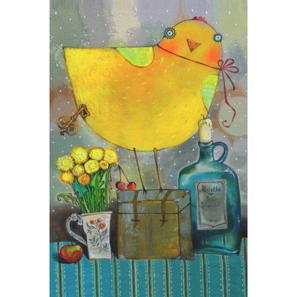 Postcasd The clock-work birdie by Anna Silivonchik