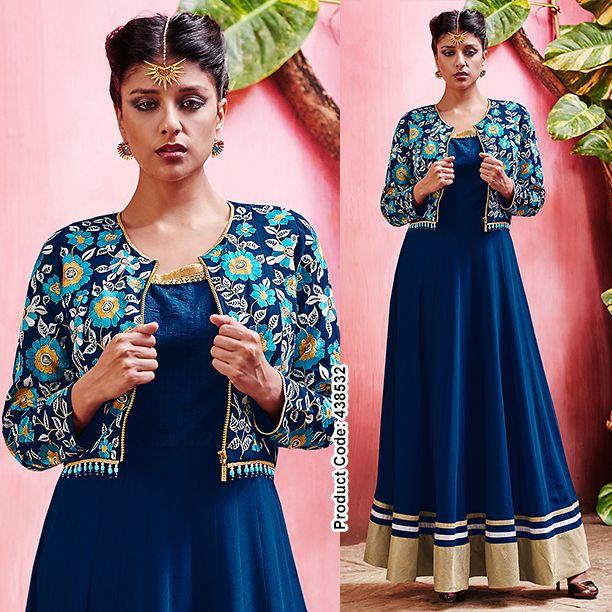 Utterly gracefull ! #Floral #Jacket with tribal #border making its way in royal blue heaven. #Anarkali #SalwarSuit #Indianwears #Blue #DesignerSuits #BridalWear