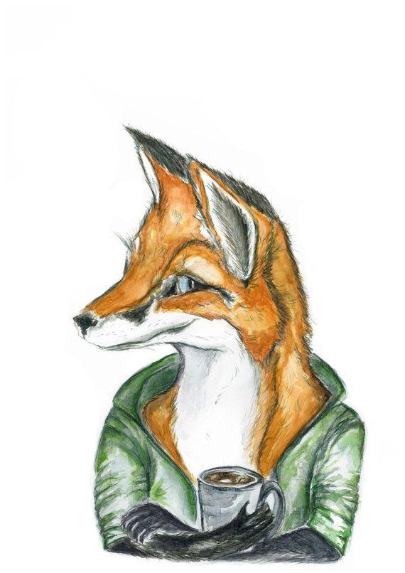 a3 Watercolor fox print fox art fox and by jessicasarahdesign