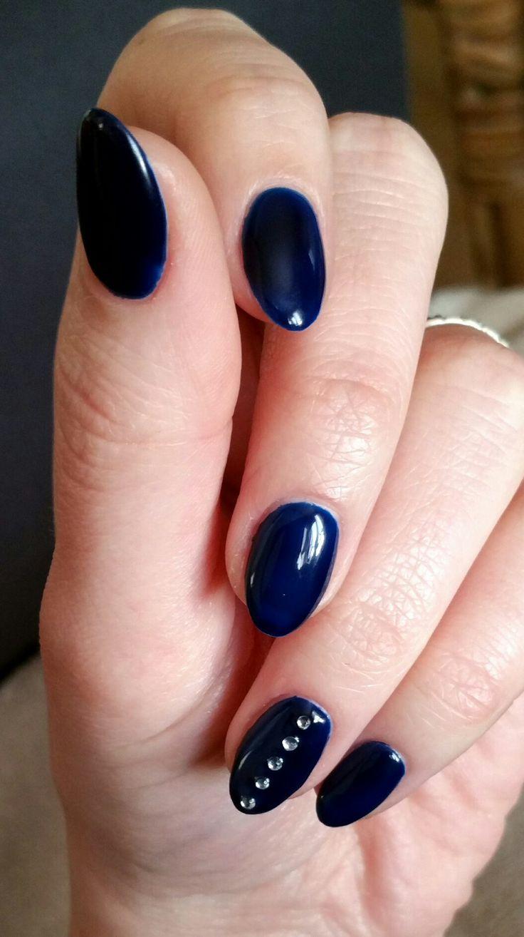 Navy almond shaped shellac nails with diamantes