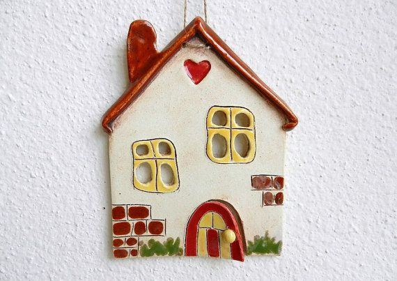 Ceramic house wall hanging ceramic house wall art by potteryhearts