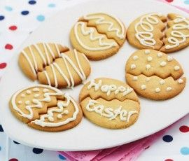 Easter Biscuits: The kids will love these simple tasty biscuits, cut into Easter shapes and decorated with White Melts. http://www.bakers-corner.com.au/recipes/cookies/easter-biscuits/