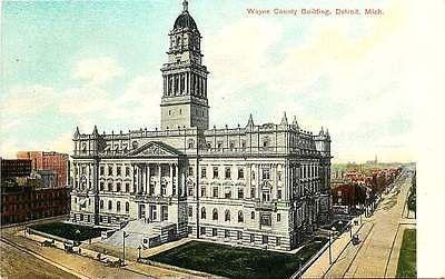 Detroit Michigan MI 1908 Wayne County Building Antique Vintage Postcard