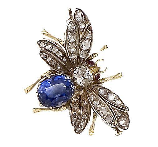 Sapphire & Diamond Bee Brooch