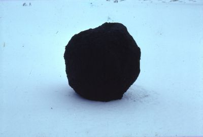 Andy Goldsworthy, Snowball covered with mud/placed on heavily frosted frozen pond/covered over any foot prints, High Bentham, Yorkshire, 1979, Cibachrome photography.