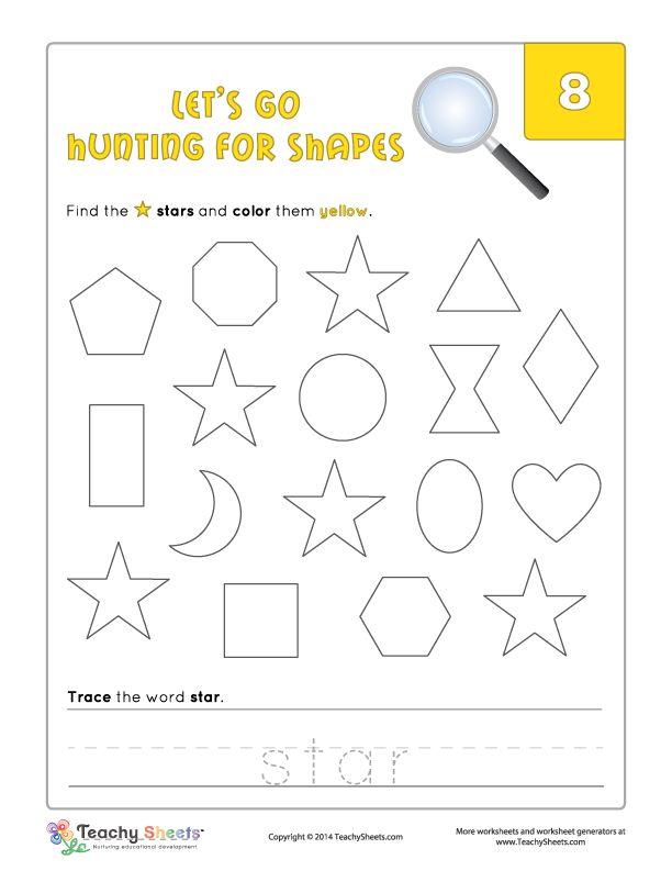 preschool and kindergarten worksheet for color and shape recognition and word tracing let your. Black Bedroom Furniture Sets. Home Design Ideas