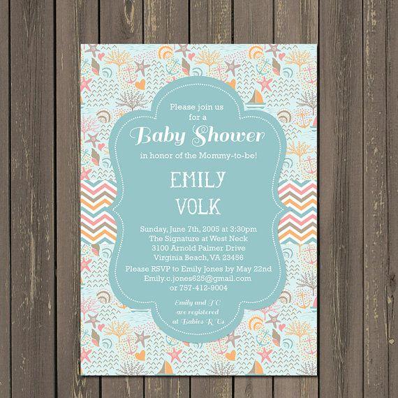 Amazing Ocean Baby Shower Invitation, Beach Baby Shower Invite, Shell Baby Shower,  Ocean Theme Shower, Nautical, Sailboats