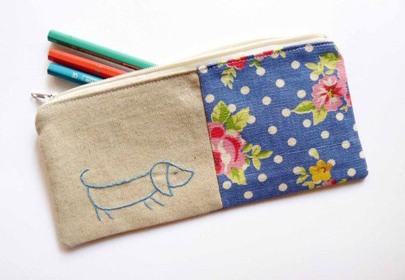 Sausage dog pencil case or zipper pouch hand by edwardandlilly, $20.00