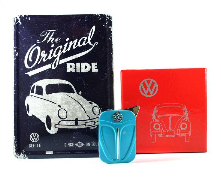 VW Feuerzeug und Blechpostkarte Käfer Beetle mit Geschenkbox Gas Metall Neu