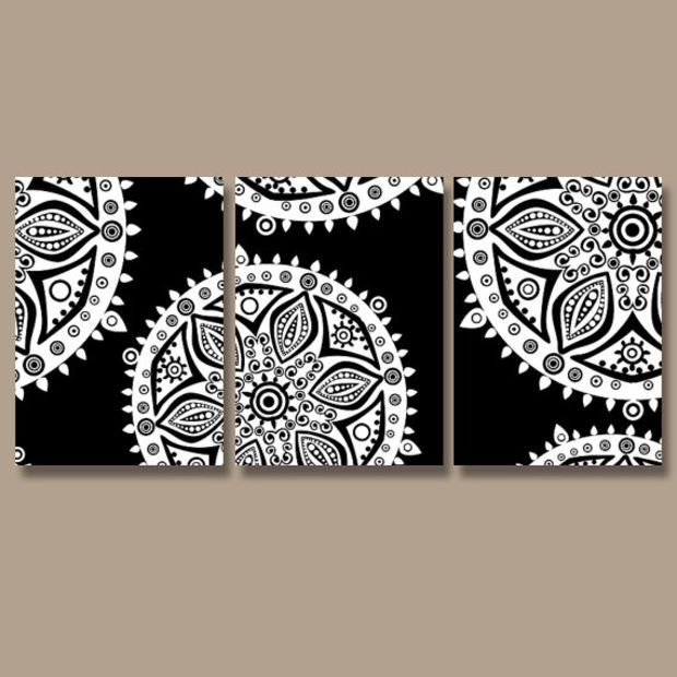 Wall Art Canvas Artwork Aztec Tribal Mandala Ornament Design Black White Set of 3 Prints Decor Bedroom Bedding Bathroom Three