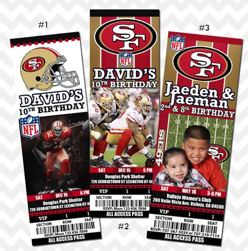 San Francisco 49ers Ticket Invitation by PhotoGoof on Etsy, $10.99