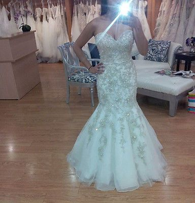 Shiny Mermaid Wedding Dresses Crystal Rhinestone Sweetheart Bling Bridal Gowns