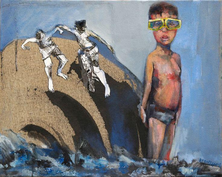 Μαρίνα Κροντηρά, Φοβάμαι τις βουτιές, 2010, λάδι σε καμβά, 40 x 50 εκ.  Marina Krontira, I'm Scared Of Diving, 2010, oil on canvas, 40 x 50 cm  We bring collectible art a click closer to You! http://www.dlfineartsgallery.com