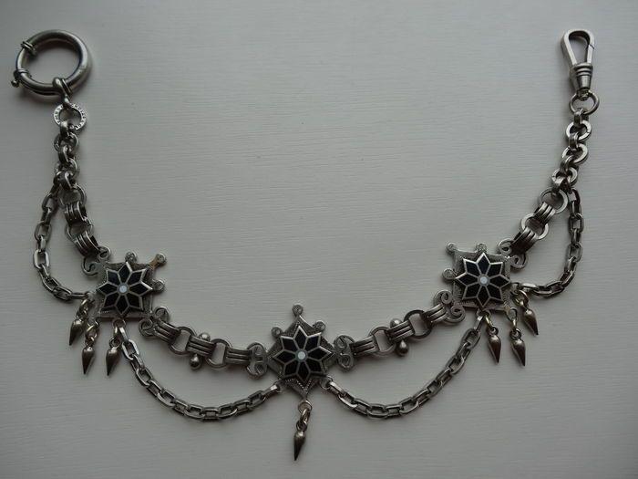 Online veilinghuis Catawiki: Verzilverde horloge ketting - ca. 1930