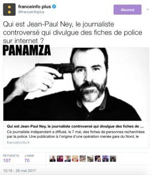 """DÉSINFORMATION : SELON FRANCE TÉLÉVISIONS, PANAMZA EST UN """"COMPLOTISTE"""" MAIS LE BARBOUZE SIONISTE JEAN-PAUL NEY EST UN """"JOURNALISTE INDÉPENDANT""""."""