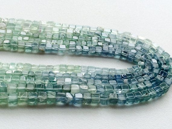 Fluorite Beads Aqua Green Fluorite Plain Box by gemsforjewels