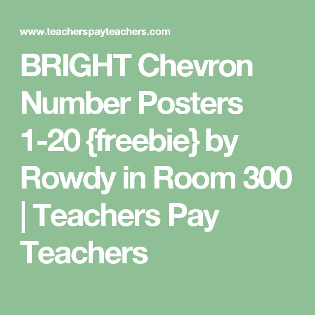 BRIGHT Chevron Number Posters 1-20 {freebie} by Rowdy in Room 300 | Teachers Pay Teachers